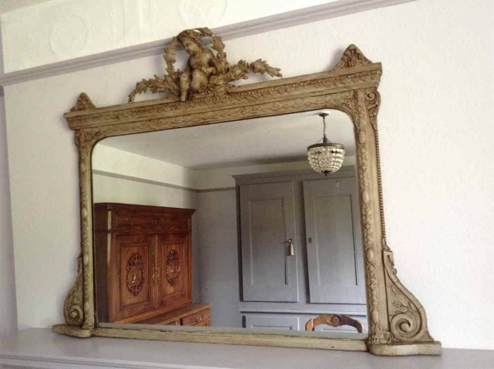 A Stunning Highly Decorative Useful Size Early Antique 19Th Pertaining To Wooden Overmantle Mirrors (#6 of 30)