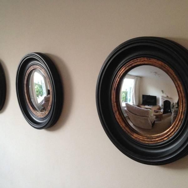 A Trio Of Small Round Antique Black 'fish Eye' Convex Mirror In Black Convex Mirrors (#3 of 20)