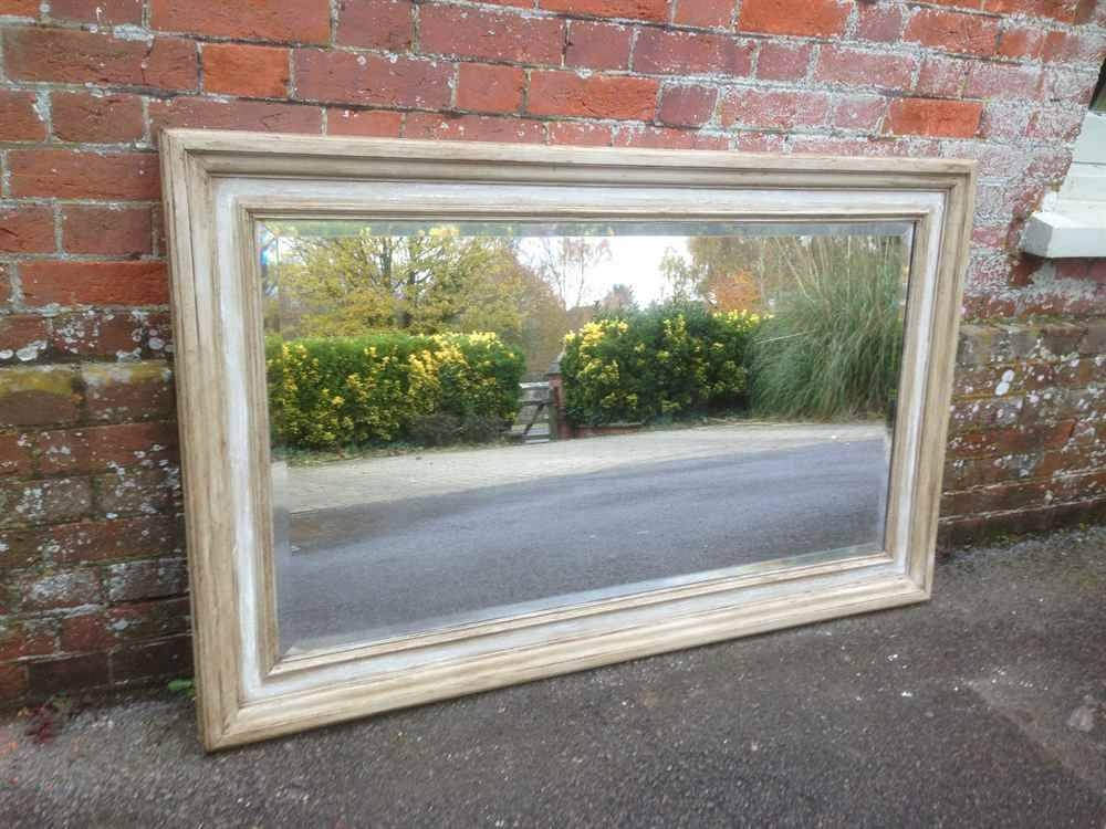 A Useful Large Antique 19Th Century French Carved Wood Painted Intended For Antique Large Mirrors (#7 of 20)