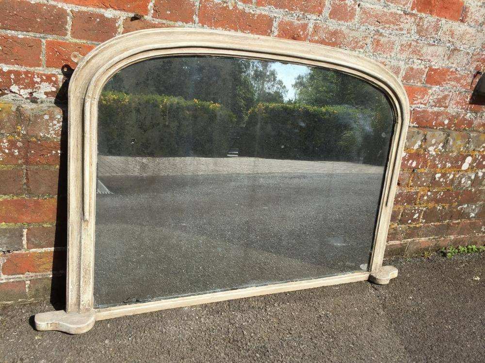 A Very Useful Antique 19Th Century English Carved Wood Painted In Wooden Overmantle Mirrors (#8 of 30)