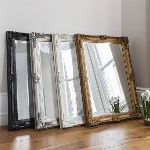 Abbey French Ornate Rectangular Wall Mirror Black Cream Gold Silver Intended For Black Ornate Mirrors (#2 of 30)