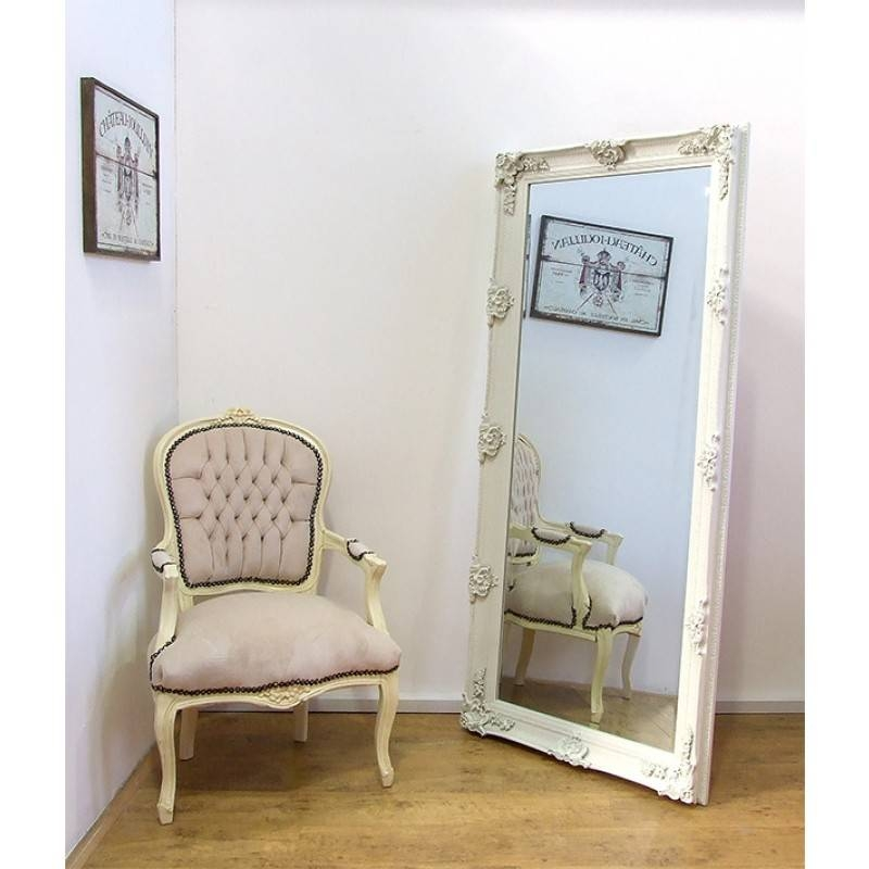 "Abbey Large Shabby Chic Antique Style Leaner/wall Mirror 31"" X 65 Inside Cream Shabby Chic Mirrors (#11 of 30)"