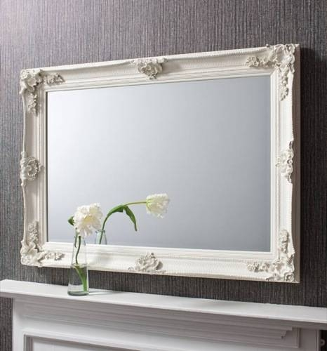 Abbey Rectangular Over Mantle Mirror Cream 44X32 Inches With Regard To Cream Mirrors (#2 of 30)