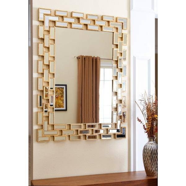 Abbyson Living Sonia Gold Rectangle Wall Mirror With Gold Wall Mirrors (#2 of 30)