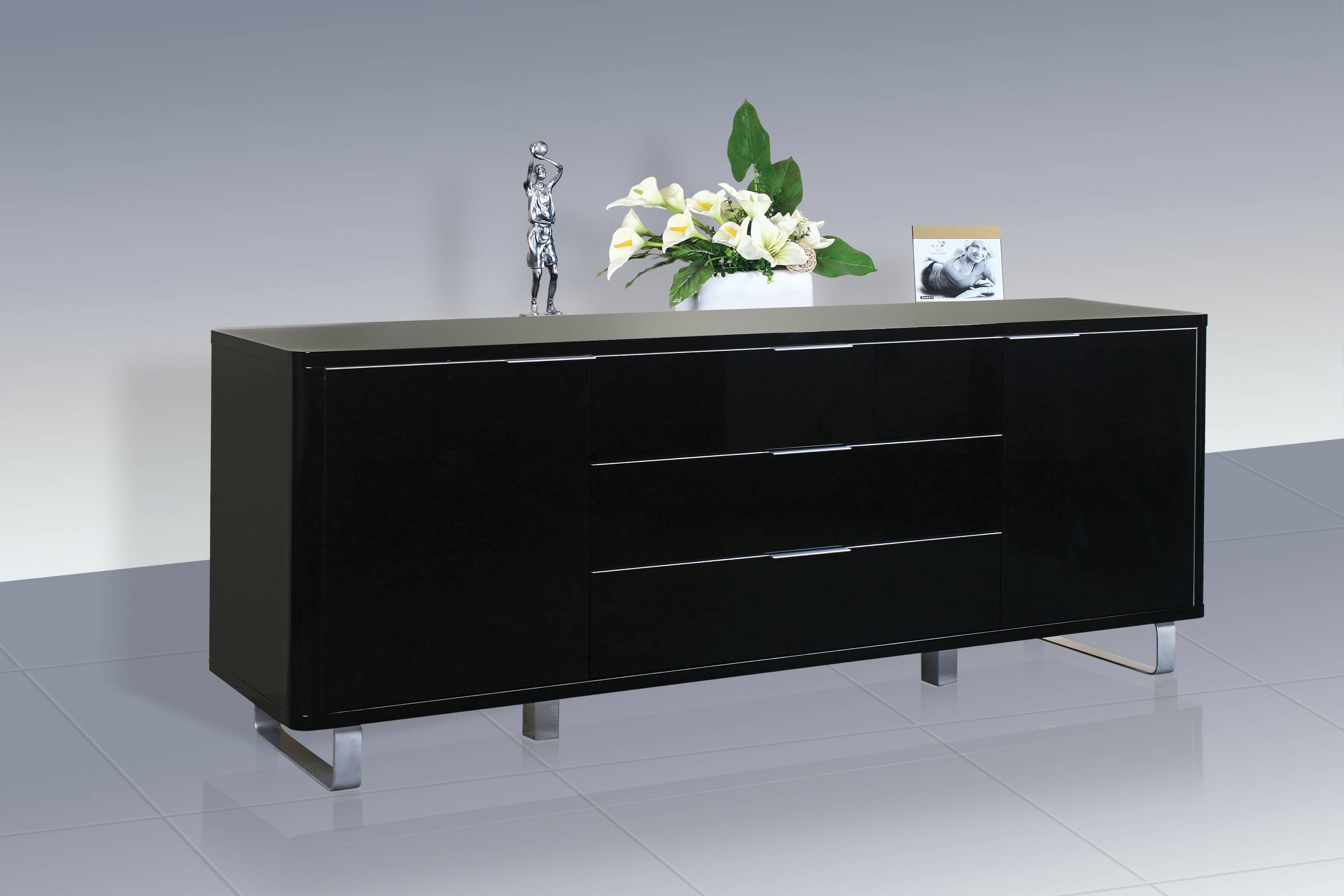 Accent Sideboard – High Gloss White – Lpd Furniture With Black High Gloss Sideboards (#1 of 20)