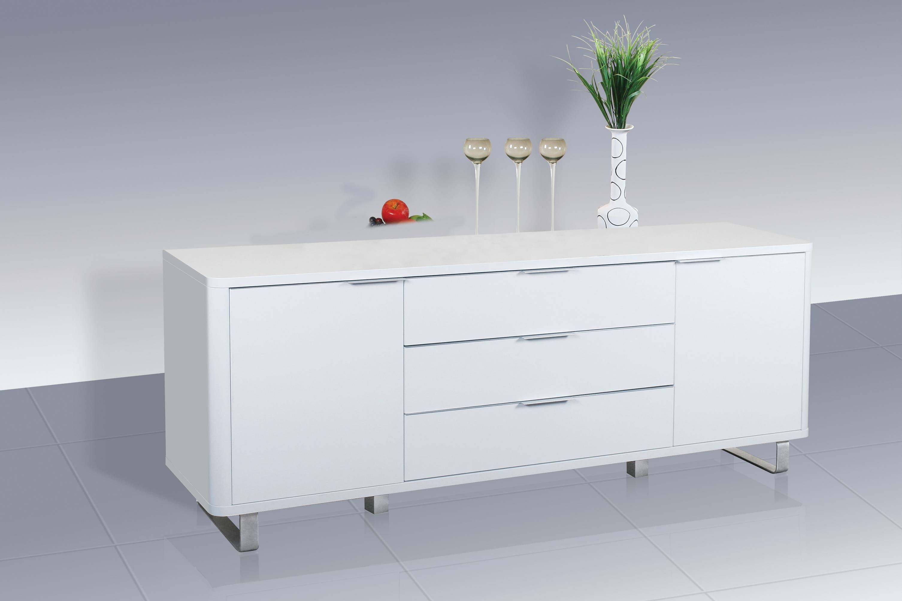 Accent Sideboard – High Gloss White – Lpd Furniture With Regard To White Gloss Sideboards (#1 of 20)