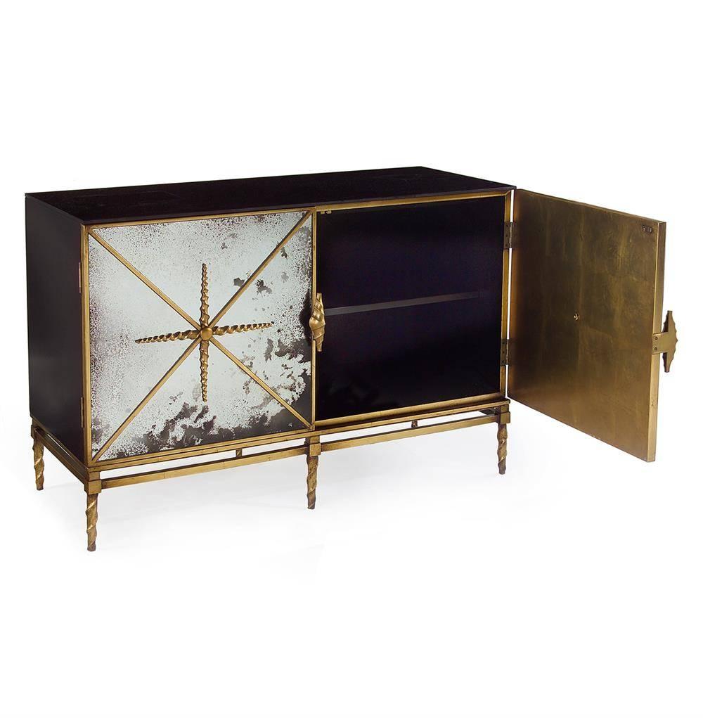 Adalyn Hollywood Regency Antique Mirror Gold Black 2 Door With Regard To Sideboard Mirror (View 16 of 20)