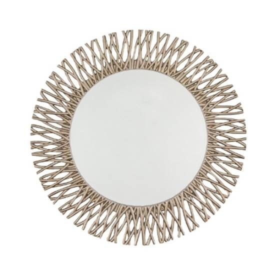 Adel Round Mirror Champagne Silver Leaf Adel Round Champagne Pertaining To Silver Round Mirrors (View 7 of 30)