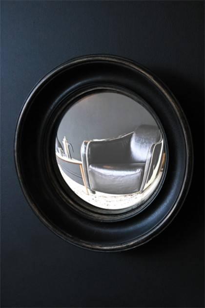 Aged Black Convex Mirror With Regard To Black Convex Mirrors (#4 of 20)