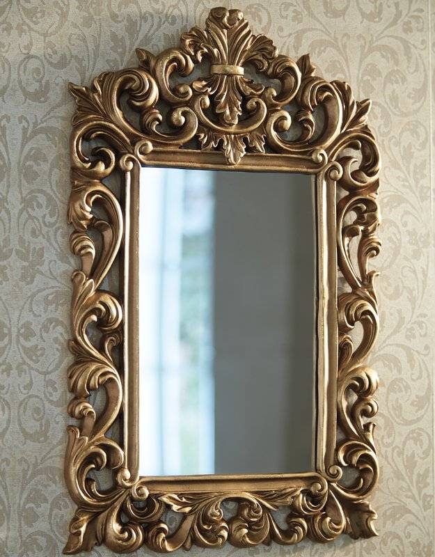 Alcott Hill Antique Gold Wall Mirror & Reviews | Wayfair Within Gold Wall Mirrors (#4 of 30)