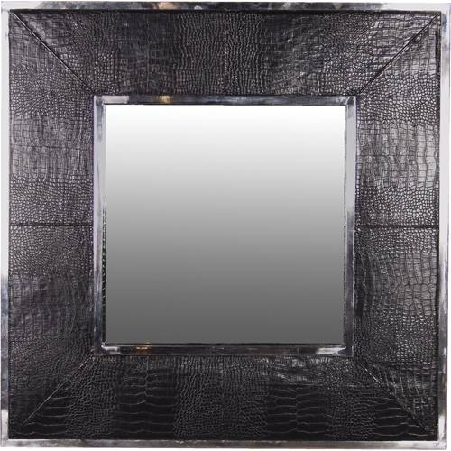 Alexander Black Mock Croc Leather Mirror Intended For Leather Mirrors (#5 of 20)