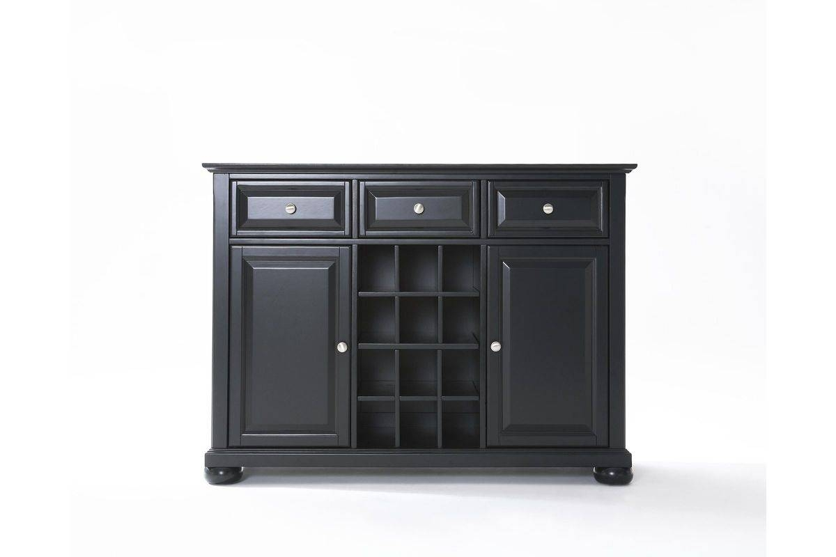 Alexandria Buffet Server / Sideboard Cabinet With Wine Storage In Within Black Sideboard (View 19 of 20)