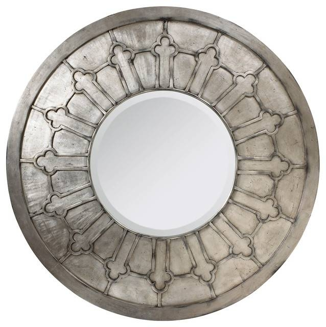 Alexandria French Country Antique Silver Round Wall Mirror For Silver Round Mirrors (#6 of 30)