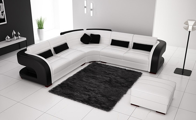 Aliexpress Buy Free Shipping Classic Black And White Genuine Pertaining To White And Black Sofas (#2 of 15)