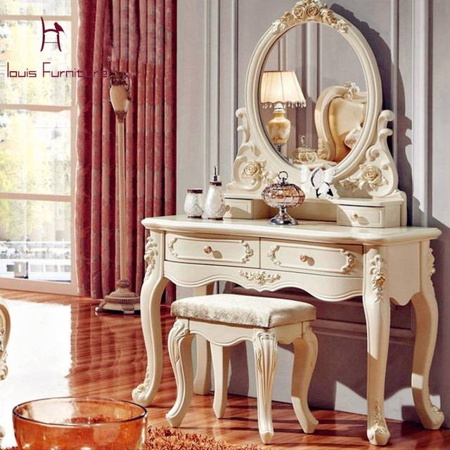 Aliexpress : Buy Luxury French Style Pricess Dresser Makeup Inside French Style Dressing Table Mirrors (#3 of 20)