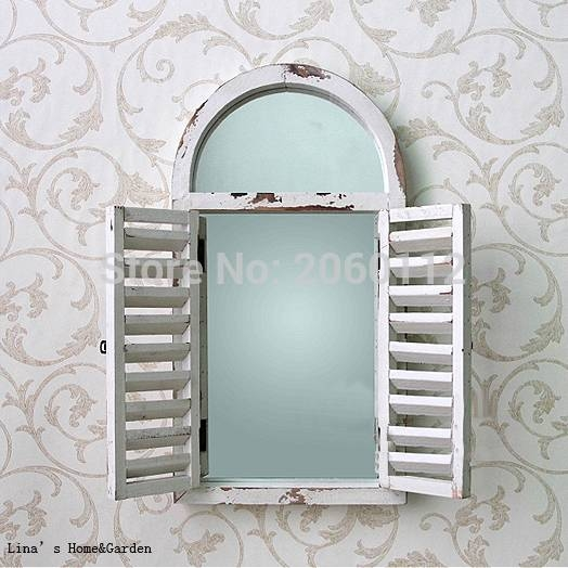 Aliexpress : Buy Wall Mounted Shabby Chic White Arched Wood In Window Shutter Mirrors (#3 of 30)
