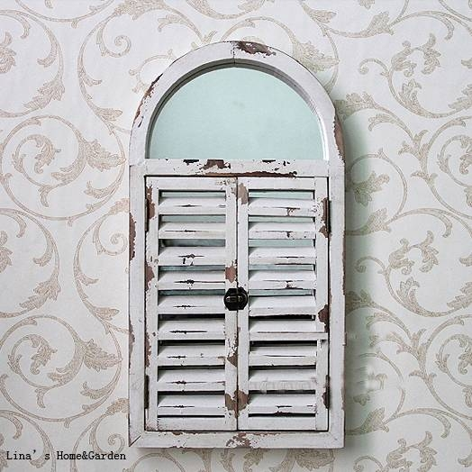 Aliexpress : Buy Wall Mounted Shabby Chic White Arched Wood Intended For Shabby Chic Window Mirrors (View 16 of 20)