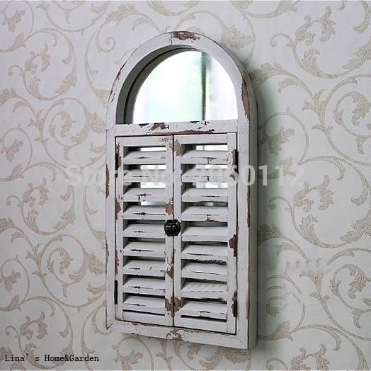 Aliexpress : Buy Wall Mounted Shabby Chic White Arched Wood With Regard To Window Shutter Mirrors (#4 of 30)