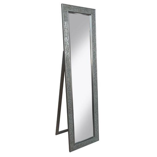 Aliza Floor Standing Cheval Mirror In Silver 25684 For Silver Cheval Mirrors (#4 of 20)