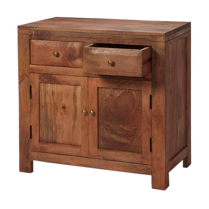 Alwar Mango Light Solid Wood Sideboard With 2 Drawers Inside Real Wood Sideboard (View 5 of 20)