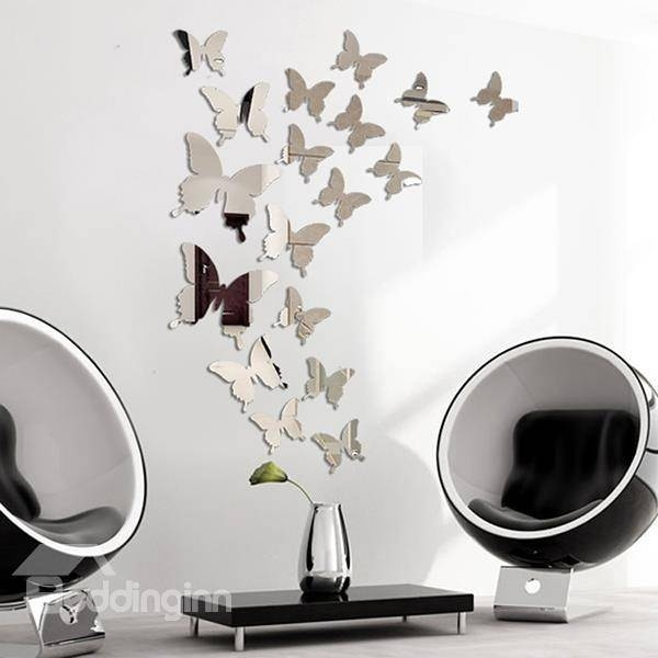 Amazing Acrylic Butterfly Pattern Mirror Wall Stickers For Butterfly Wall Mirrors (#4 of 20)