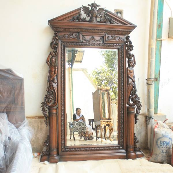 Amazing Huge Wall Mirror 2 Antique Victorian Cheval Heavy In Mirrors