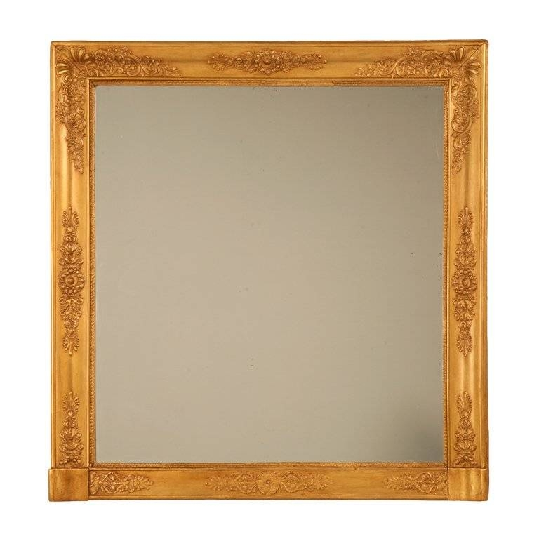 Amazing Restored Large Square Antique French Gilt Mirror For Sale Pertaining To Large Gilt Mirrors (#4 of 20)