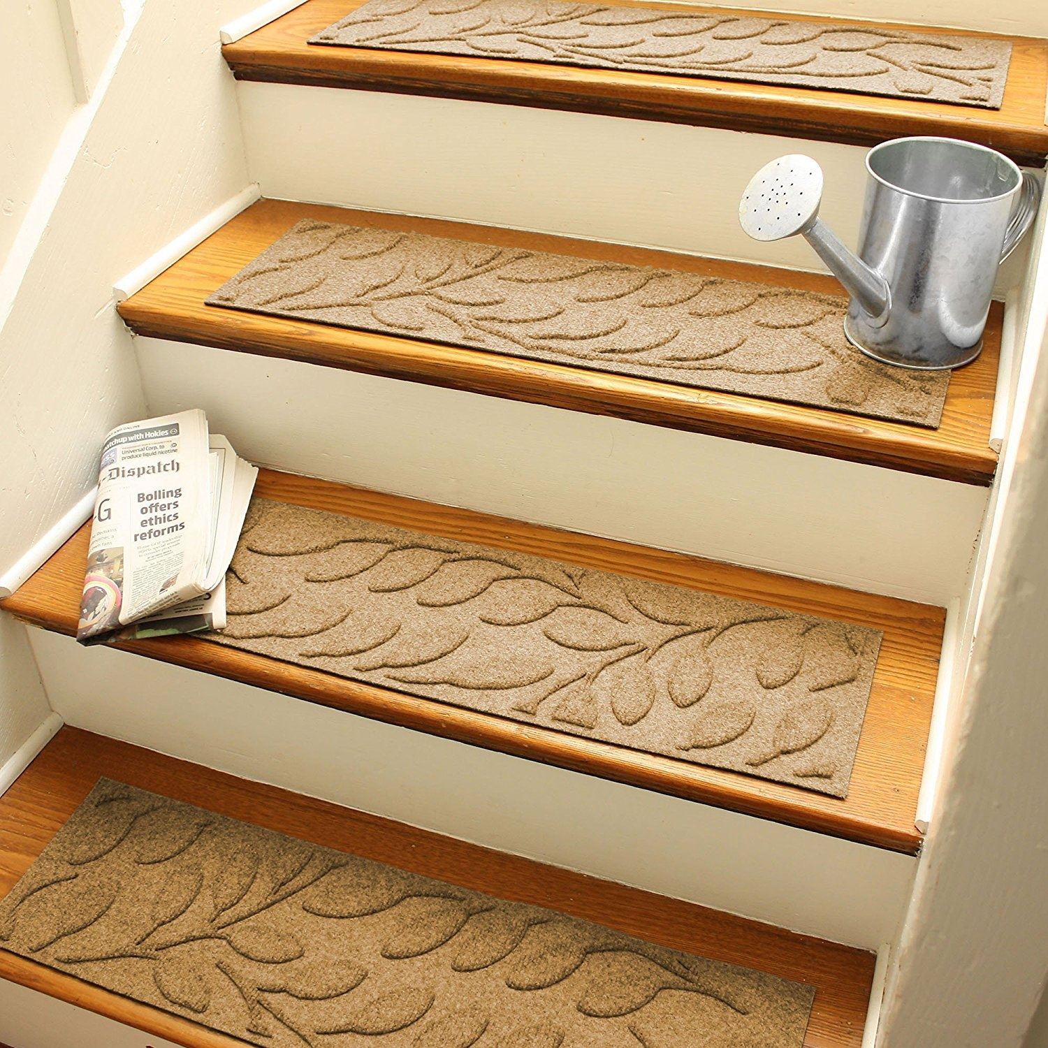 Amazon Aqua Shield Brittany Leaf Stair Treads 85 30 Regarding Braided Rug Stair Treads (#2 of 20)