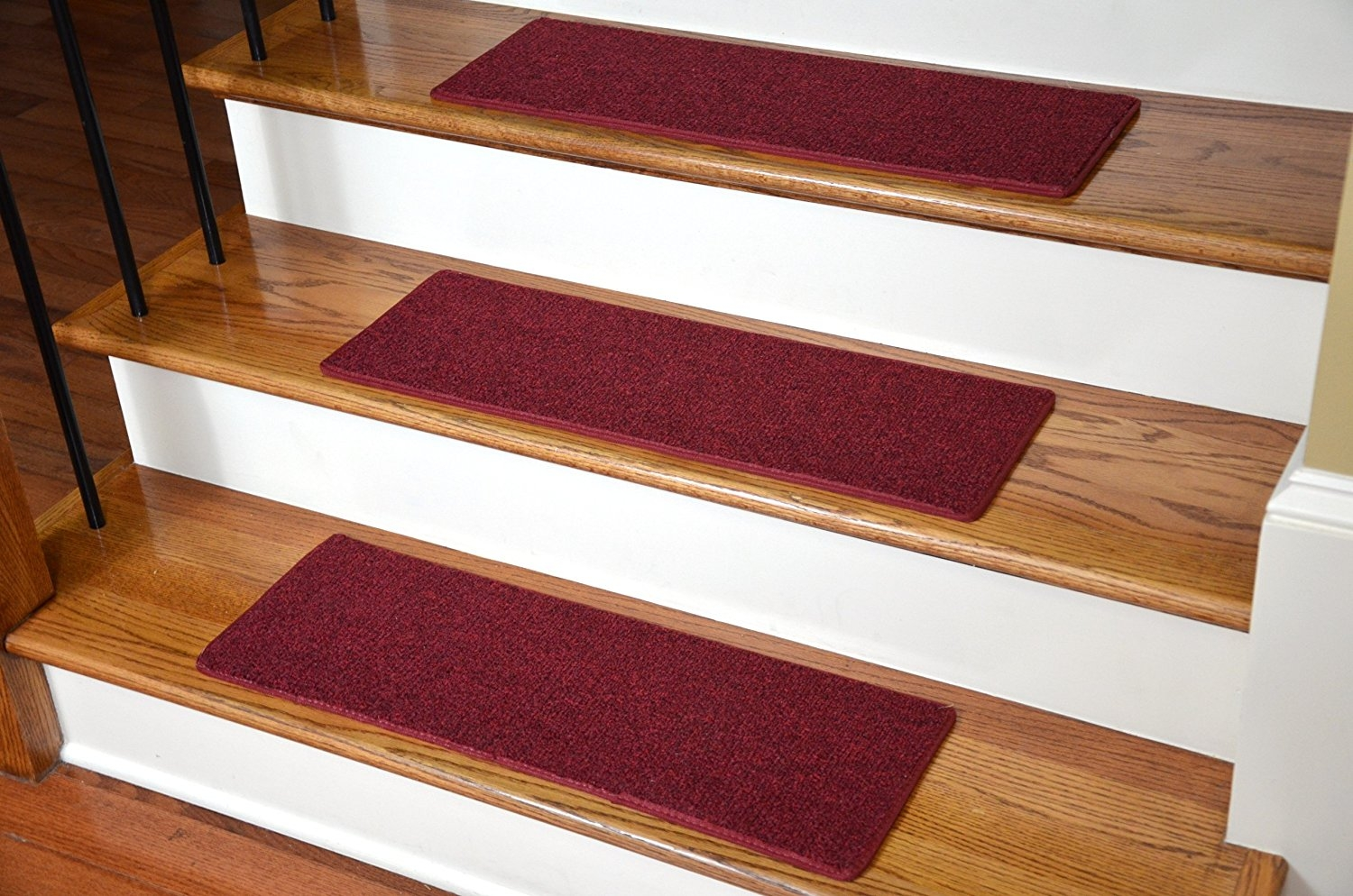 Amazon Carpet Stair Treads 23 X 8 Red Set Of 13 Home Inside Carpet Stair Treads Set Of  (#1 of 20)