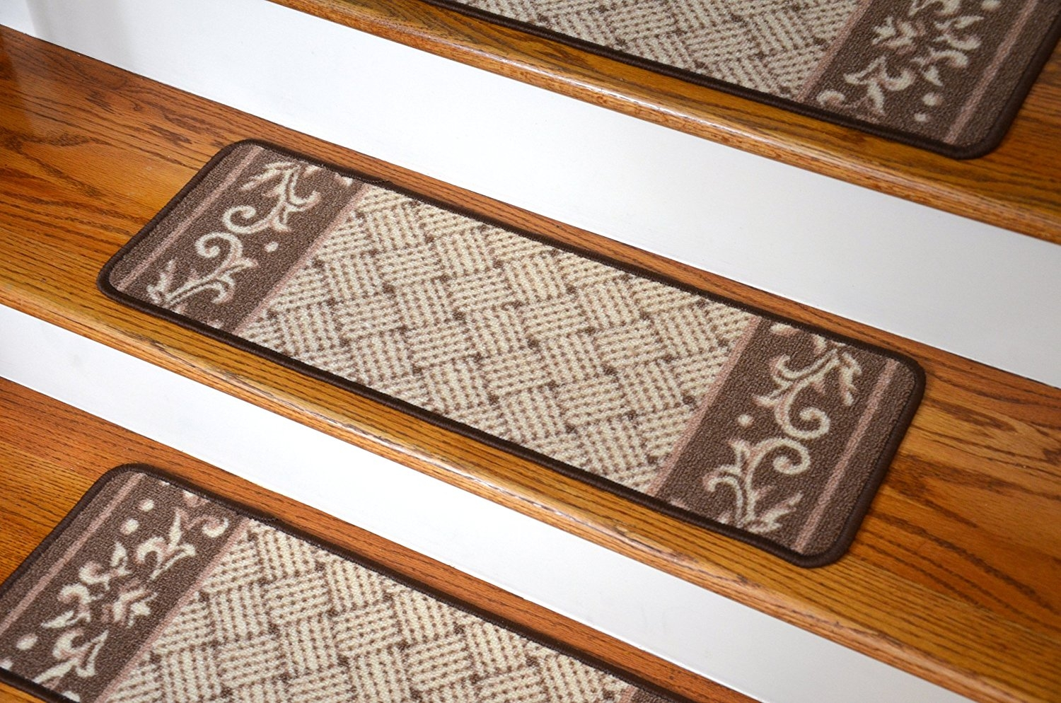 Amazon Carpet Stair Treads Caramel Scroll Border Pertaining To Carpet Treads For Wooden Stairs (#4 of 20)