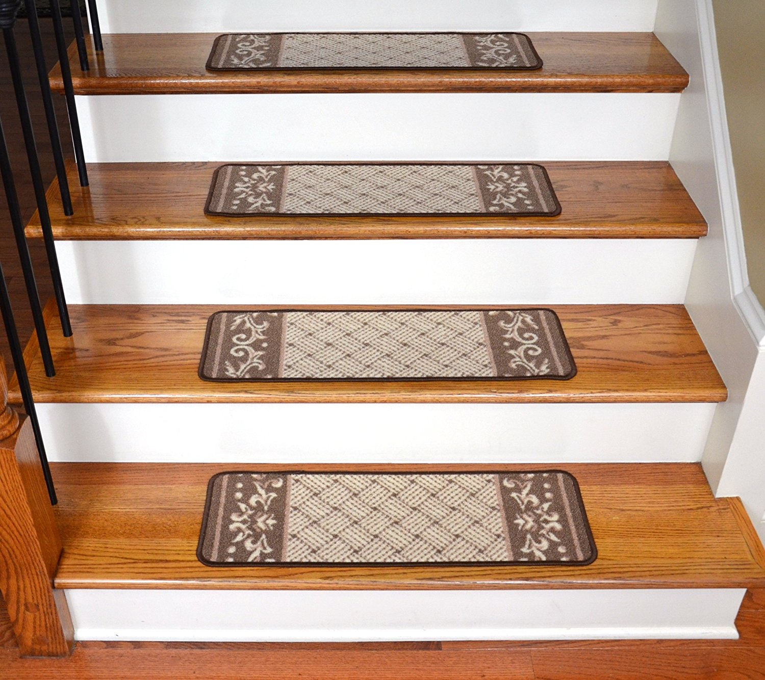 Amazon Carpet Stair Treads Caramel Scroll Border With Bullnose Stair Tread Carpets (#4 of 20)