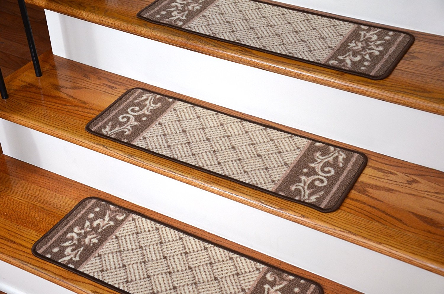 Amazon Carpet Stair Treads Caramel Scroll Border With Regard To Carpet Treads For Hardwood Stairs (#6 of 20)
