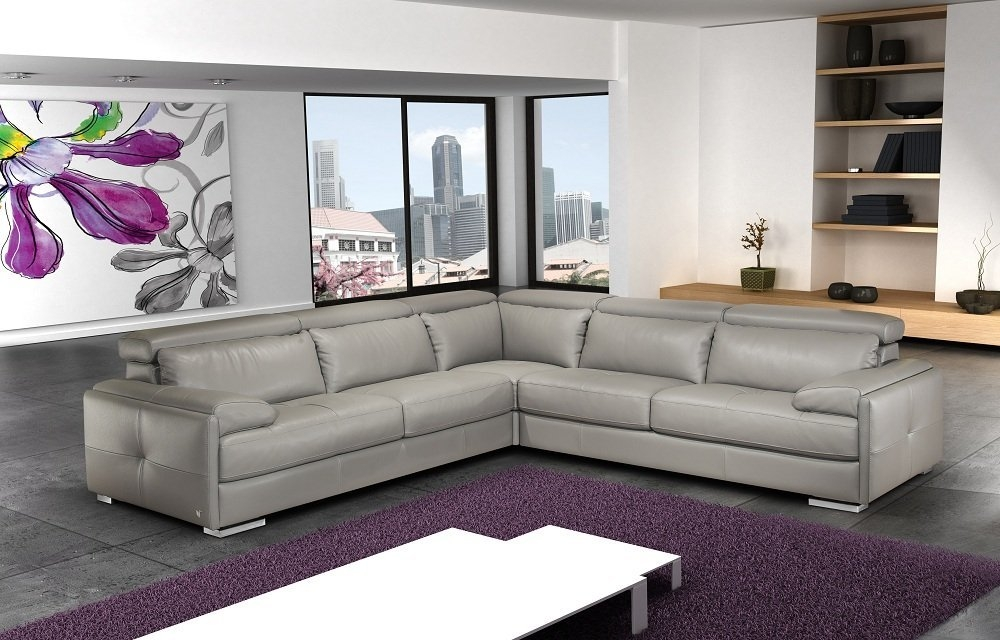 Amazon Jm Furniture Gary Ash Grey Full Top Grain Italian Pertaining To Gray Leather Sectional Sofas (#2 of 15)