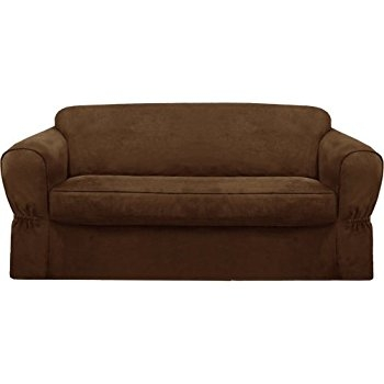 Amazon Maytex Pixel Stretch 2 Piece Sofa Slipcover Chocolate For 2 Piece Sofa Covers (#2 of 15)