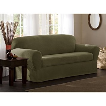 Amazon Maytex Reeves Stretch 2 Piece Sofa Slipcover Sage Inside 2 Piece Sofa Covers (#3 of 15)