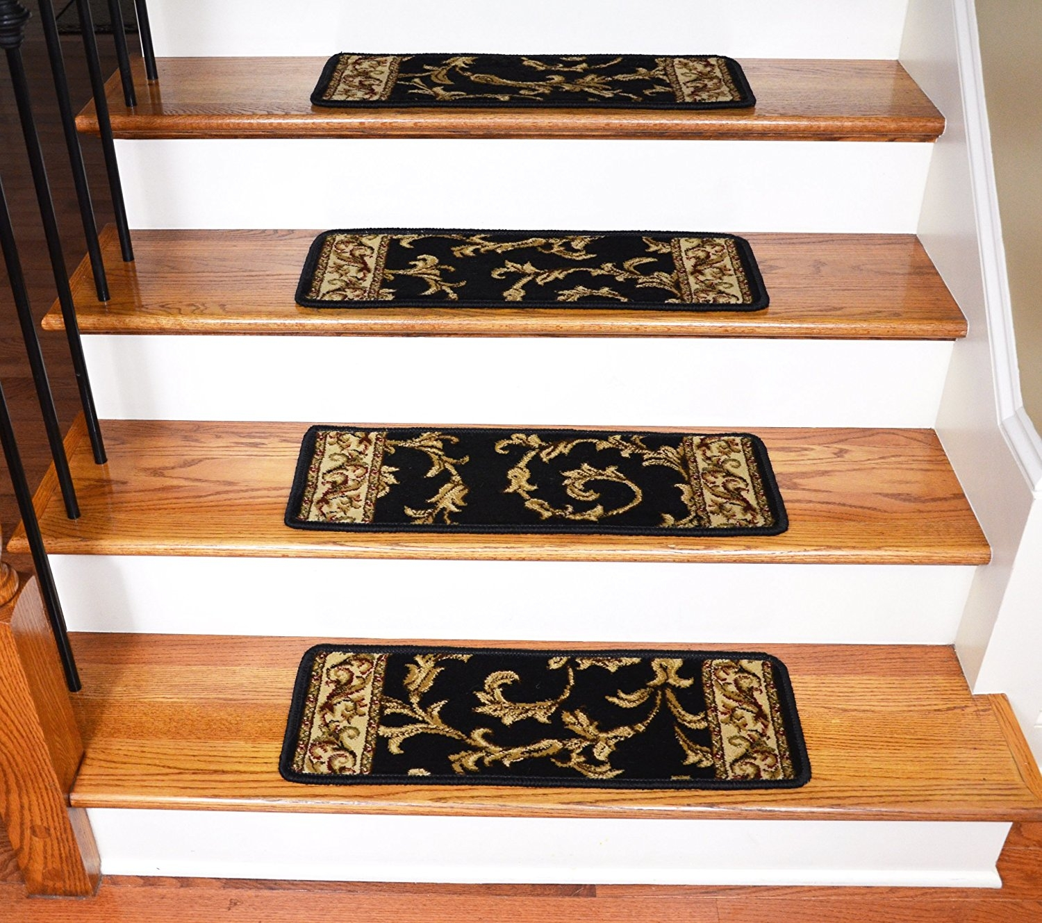 Amazon Premium Carpet Stair Treads Black Scrollworks Plus With Regard To Stair Treads Landing Rug (#2 of 20)