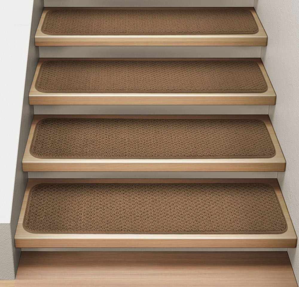 Amazon Set Of 12 Attachable Indoor Carpet Stair Treads Pertaining To Diy Stair Tread Rugs (#1 of 20)