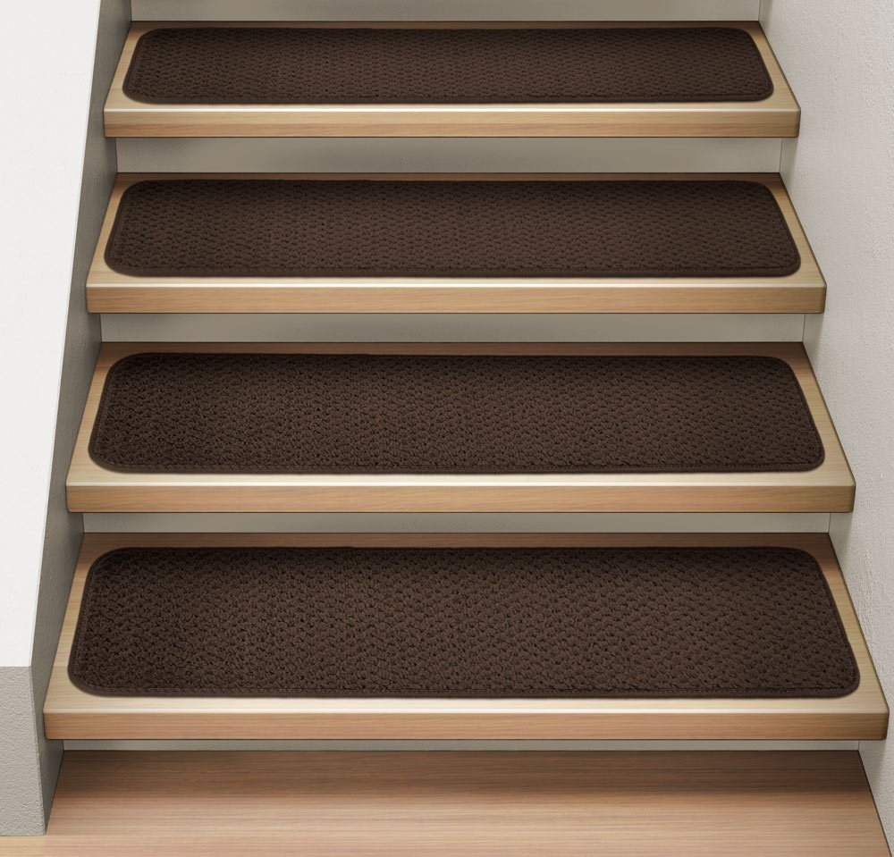 Amazon Set Of 12 Attachable Indoor Carpet Stair Treads Pertaining To Rectangular Stair Tread Rugs (#2 of 20)