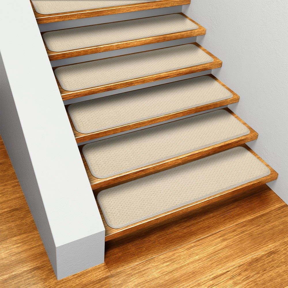 Amazon Set Of 15 Skid Resistant Carpet Stair Treads Ivory Intended For Individual Stair Tread Rugs (#3 of 20)