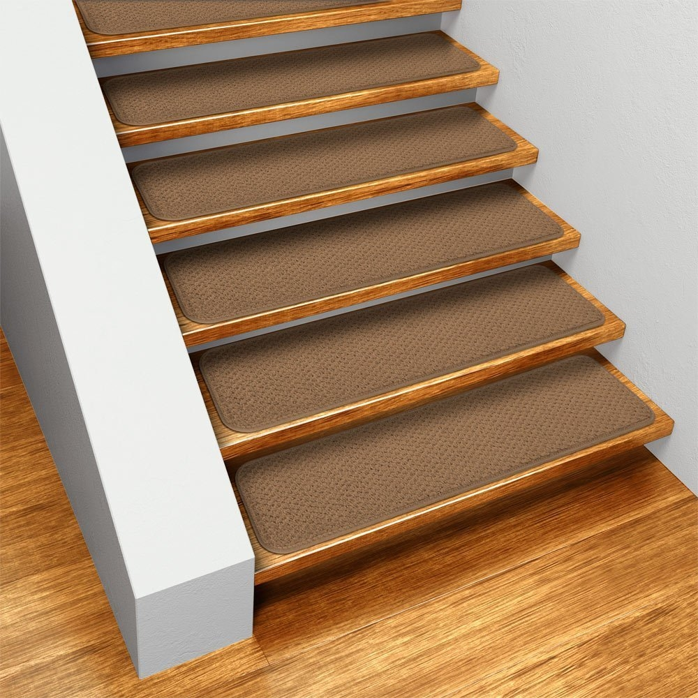 Amazon Set Of 15 Skid Resistant Carpet Stair Treads Toffee Throughout Stick On Carpet For Stairs (View 15 of 20)