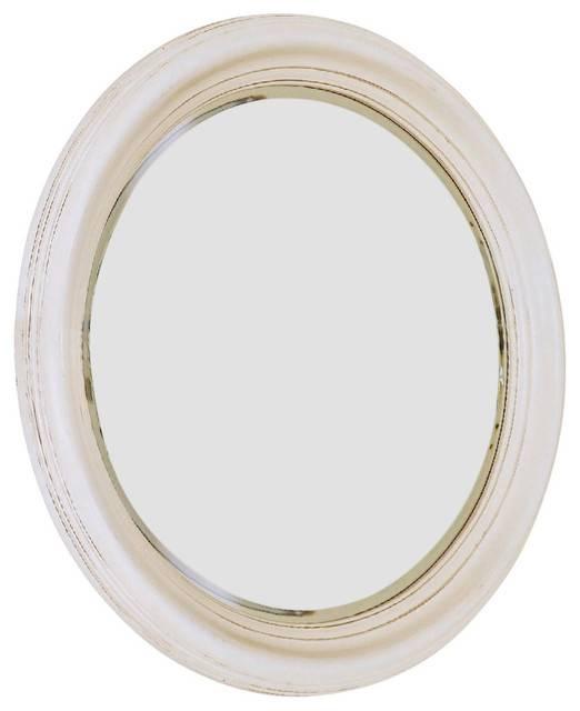 American Drew Camden Light Round Mirror In White Painted With Regard To Round White Mirrors (#2 of 30)