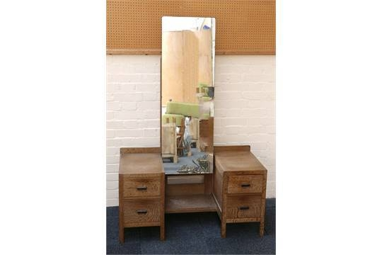 An Art Deco Limed Oak Heal & Son Dressing Table, With Full Length Intended For Art Deco Full Length Mirrors (#5 of 20)