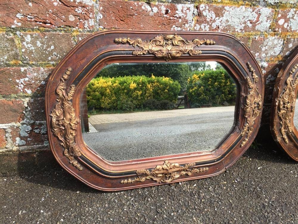 An Unusual Shaped Pair Of Antique 19Th Century French Carved Wood Intended For Unusual Shaped Mirrors (#6 of 20)
