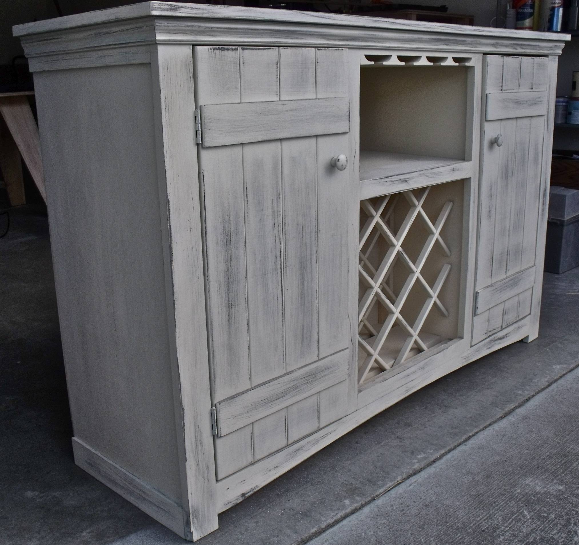 Ana White | Farmhouse Wine Buffet – Diy Projects In White Sideboard With Wine Rack (View 12 of 20)
