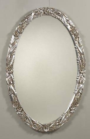 Ancona Silver Oval Wall Mirror In Silver Oval Mirrors (#2 of 20)