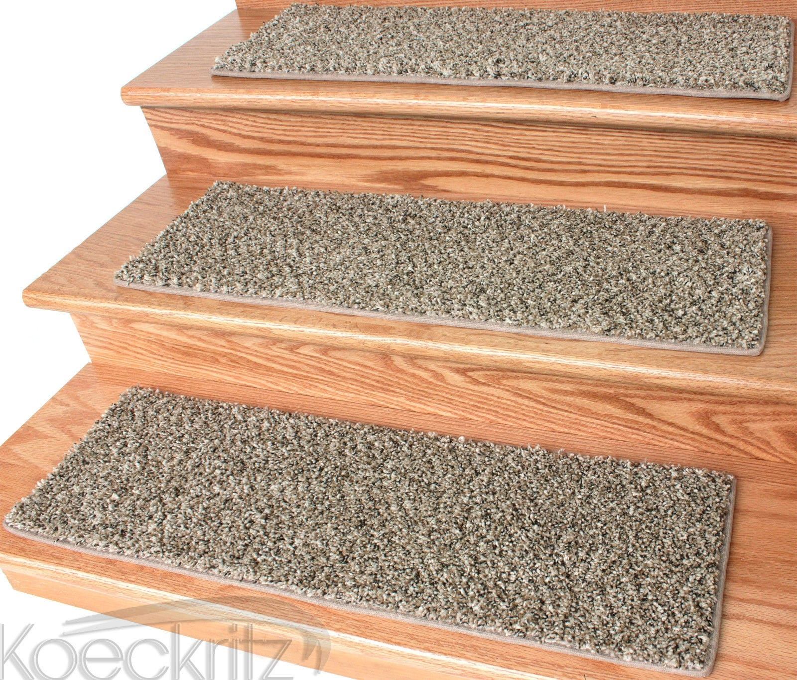 And Tan 32 Oz Plush Textured Stair Treads With Braided Rug Stair Treads (#3 of 20)