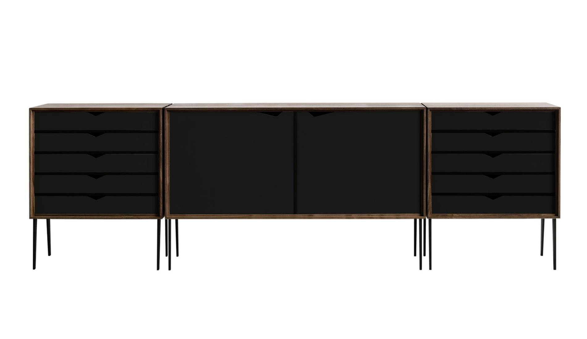 Andersen S2 Walnut / Black Sideboard | Dopo Domani Regarding Black And Walnut Sideboard (#3 of 20)