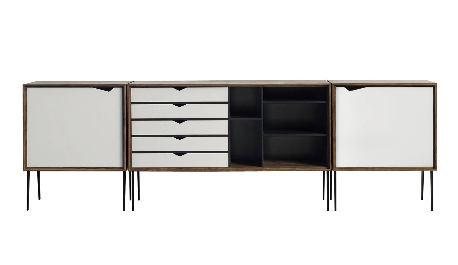 Andersen S2 Walnut / White Sideboard | Dopo Domani With Regard To Black And Walnut Sideboard (#5 of 20)