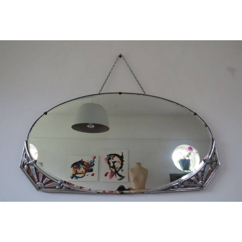 Antique Art Deco Bevel Bevelled Edge Overmantle Wall Mirror 36X61Cm In Antique Art Deco Mirrors (#5 of 20)