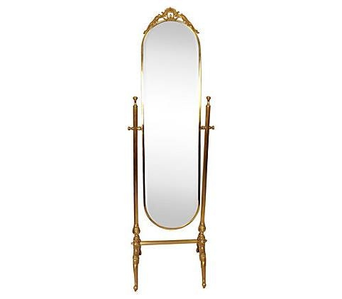 Antique Chevalier Standing Mirror On Ornate Brass Base – Vintage In Vintage Standing Mirrors (View 4 of 30)